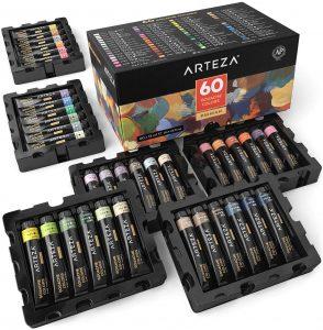 ARTEZA Gouache Paint, Set of 60 Colors/Tubes